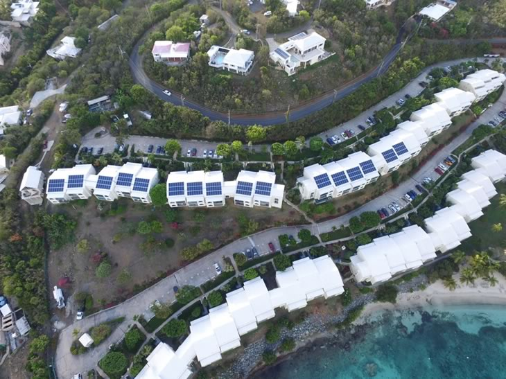 aerial pic of solar panels in St. Thomas USVI
